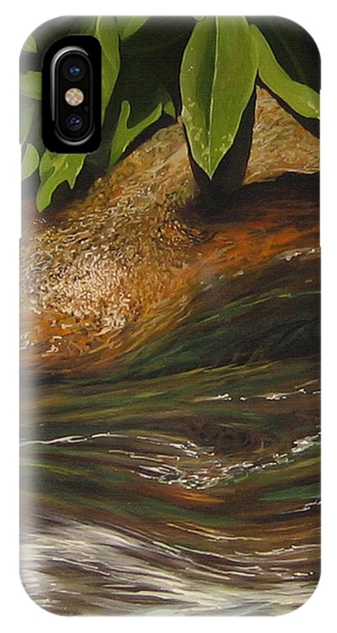 Colorado Mountain Stream IPhone X / XS Case featuring the painting Flow by Hunter Jay