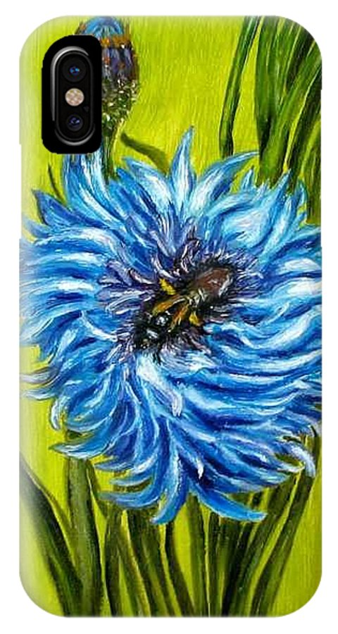 Flower IPhone X Case featuring the painting Flower and Bee oil painting by Natalja Picugina