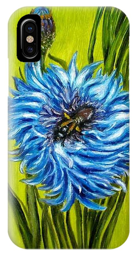 Floral IPhone X Case featuring the painting Flower and Bee oil painting by Natalja Picugina