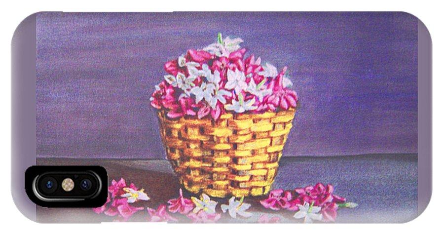 Flower IPhone X Case featuring the painting Flower Basket by Usha Shantharam