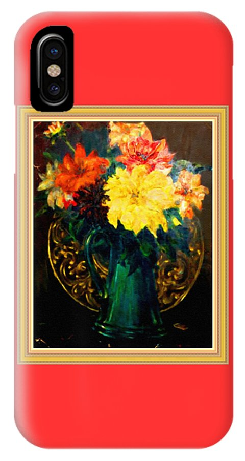 Flower Bouquets IPhone X Case featuring the painting Bouquet For Mrs De Waldt H B With Decorative Ornate Printed Frame. by Gert J Rheeders