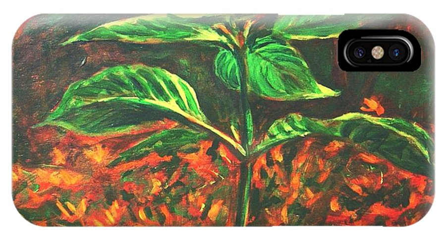 Flower IPhone X Case featuring the painting Flower Branch by Usha Shantharam