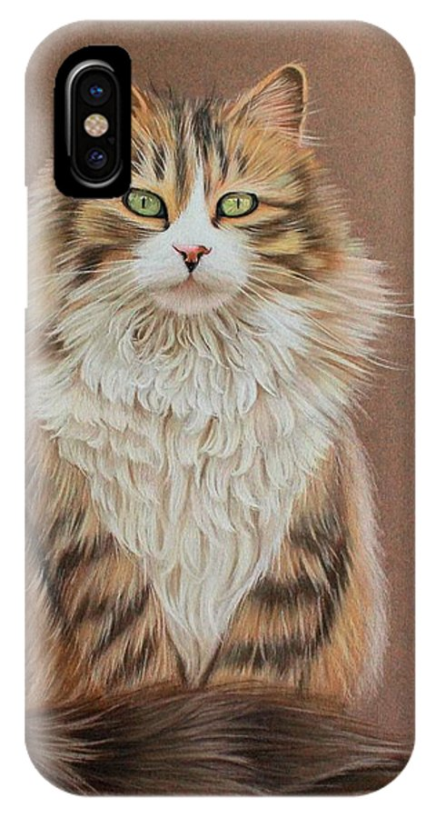 Mi Teintes IPhone X Case featuring the drawing Flower Cat by Denise Nijs