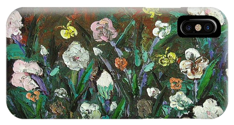 Abstract Paintings IPhone Case featuring the painting Flower Garden by Seon-Jeong Kim