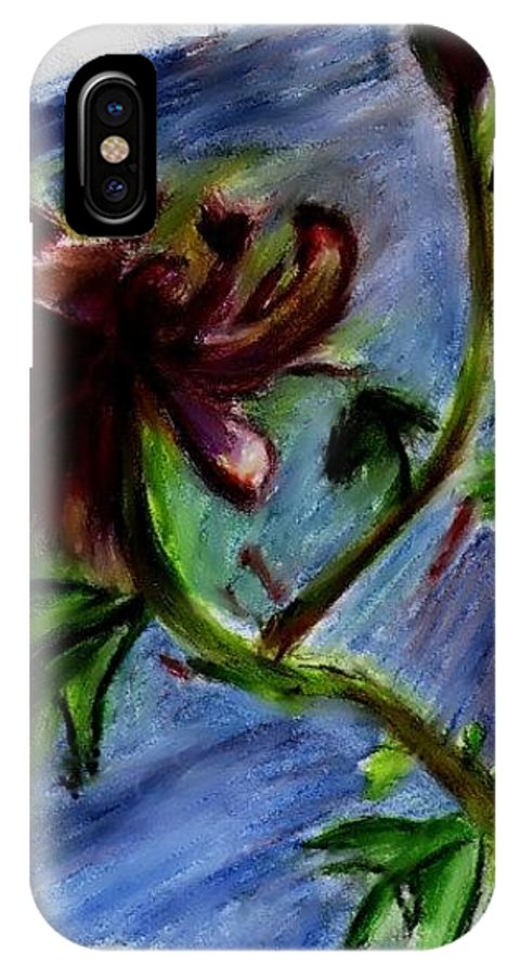 Flower Drawings IPhone Case featuring the drawing Flower In The Wind by Crystal Webb