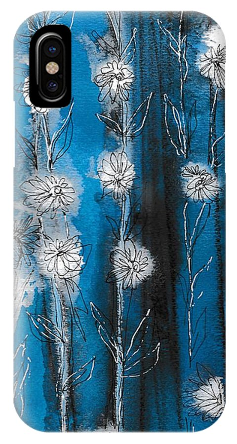 Art IPhone X Case featuring the painting Flower Lineup by Louise Adams