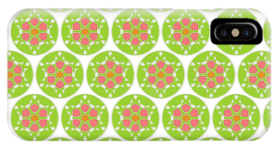 Fashion IPhone X Case featuring the digital art Flower Pattern In Circle by Jozef Jankola