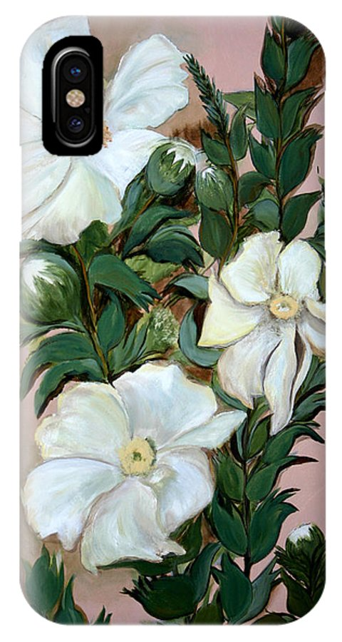 Flower IPhone X Case featuring the painting Flower Power by Gigi Desmond