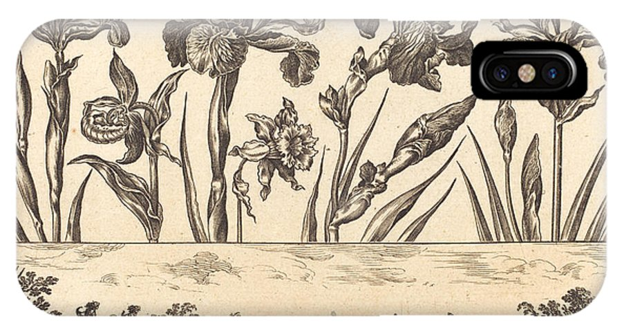 IPhone X Case featuring the drawing Flower Print No.3 by Nicolas Cochin After Balthasar Moncornet
