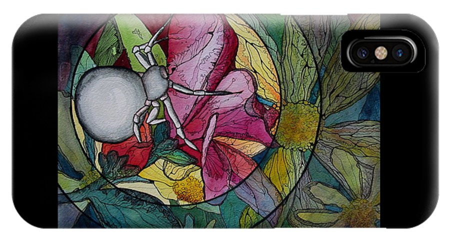 Spider IPhone X Case featuring the painting Flower Spider by Kimberly Kirk