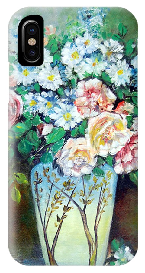 Flowers IPhone Case featuring the painting Flower Vase by Anju Saran