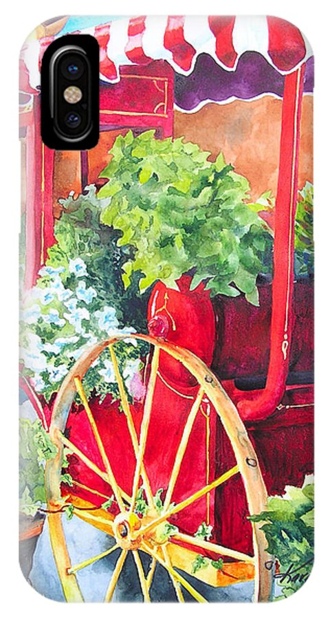 Floral IPhone X Case featuring the painting Flower Wagon by Karen Stark