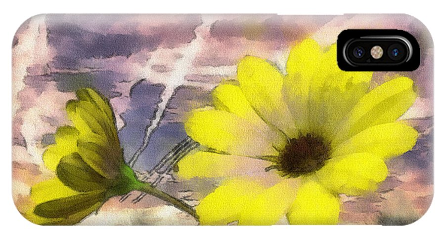 Yellow IPhone X Case featuring the painting Flowers Against A Busy Sky by Anthony Caruso