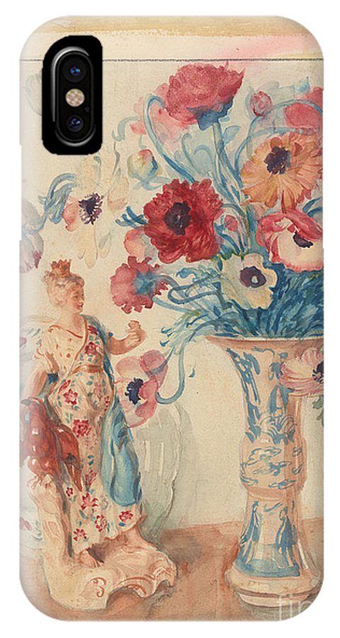 Edmund J. Sullivan 1869-1933 Flowers And Porcelain 1929 IPhone X Case featuring the painting Flowers And Porcelain by Celestial Images