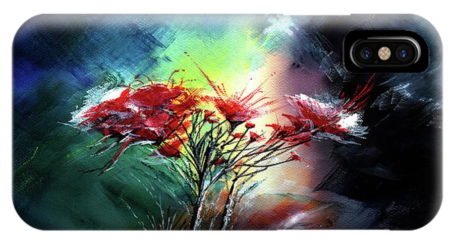 Nature IPhone X Case featuring the painting Flowers by Anil Nene