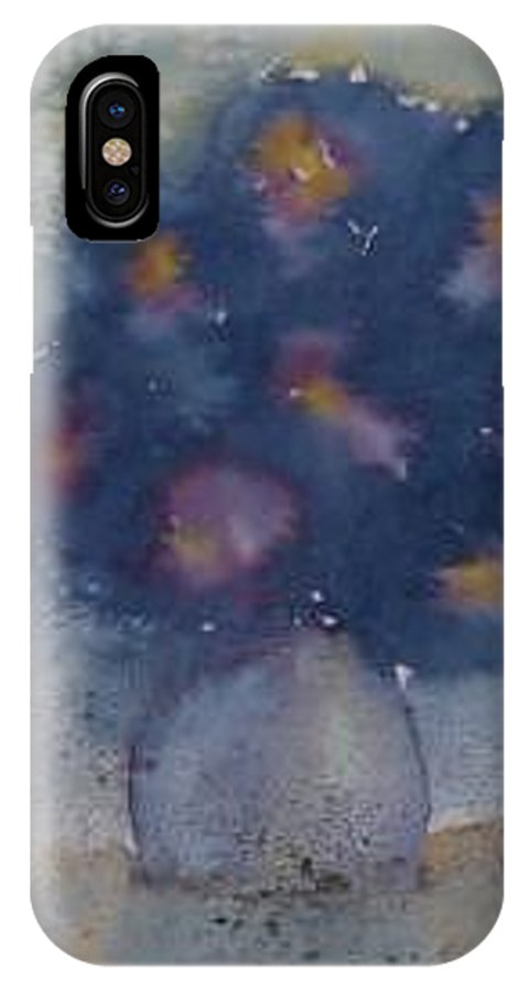Watercolor IPhone X Case featuring the painting FLOWERS AT NIGHT original abstract gothic surreal art by Derek Mccrea