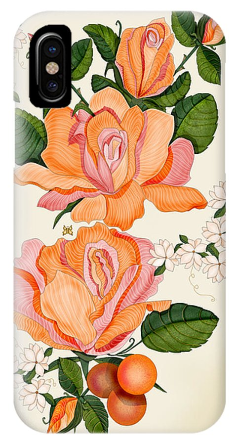 Hand-drawn Digital Painting IPhone X Case featuring the painting Flowers for Helen by Anne Norskog