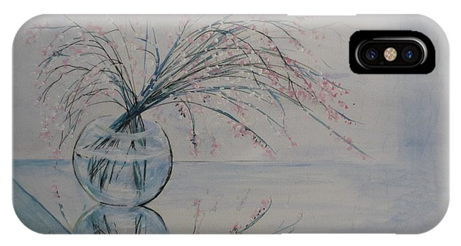 Reflection IPhone X / XS Case featuring the painting Flowers Glass Water And Mirror by Lizzy Forrester