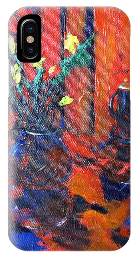 Flowers IPhone X Case featuring the painting Flowers In Blue Vase by Gary Smith