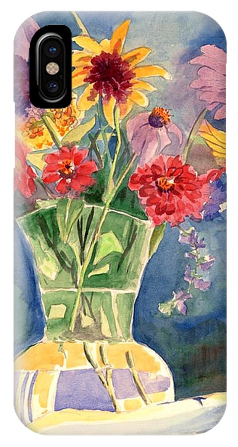 Flowers In Glass Vase IPhone X Case featuring the painting Flowers In Glass Vase by Judy Swerlick
