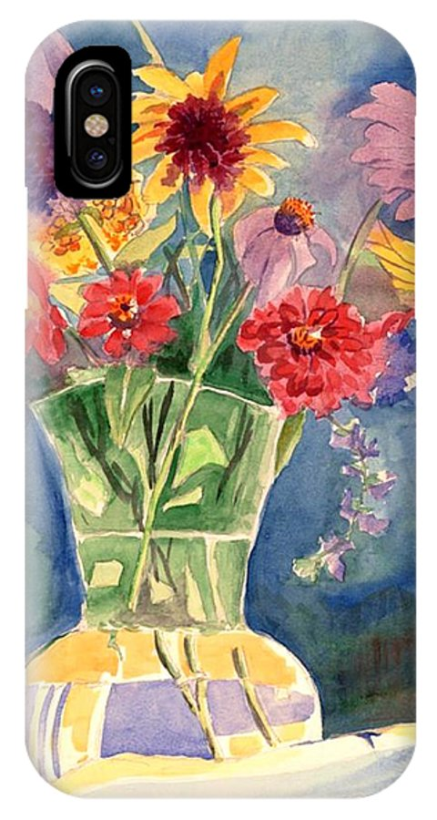 Flowers In Glass Vase IPhone X / XS Case featuring the painting Flowers In Glass Vase by Judy Swerlick