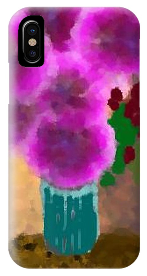 Flowers.colors.llilac.red.rose.green.blue.room.flower Vase.leaves IPhone X Case featuring the digital art Flowers In Room by Dr Loifer Vladimir