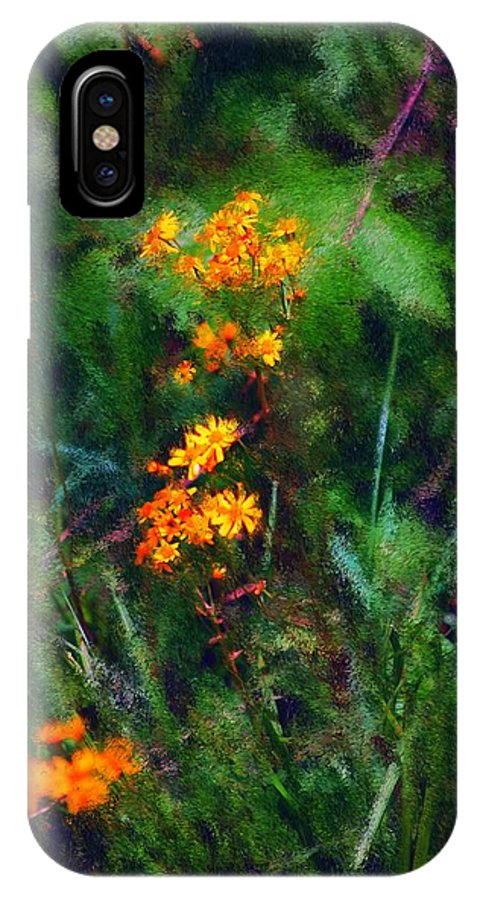 Digital Photography IPhone X Case featuring the digital art Flowers In The Woods At The Haciendia by David Lane