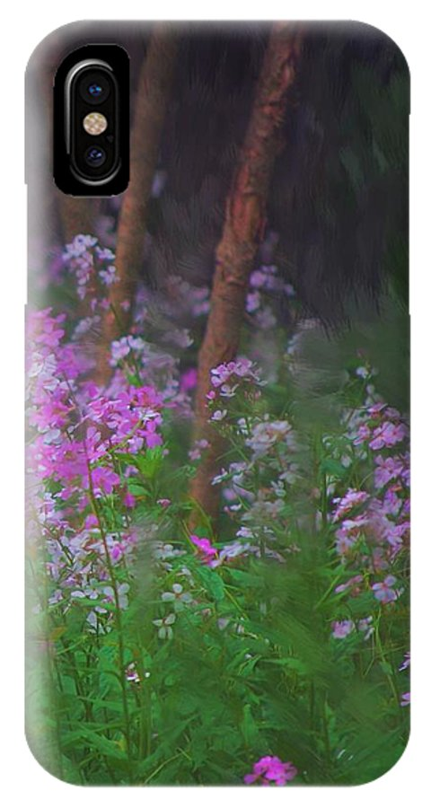 Landscape IPhone X Case featuring the painting Flowers in the woods by David Lane