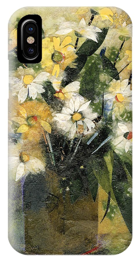 Limited Edition Prints IPhone X Case featuring the painting Flowers In White And Yellow by Nira Schwartz
