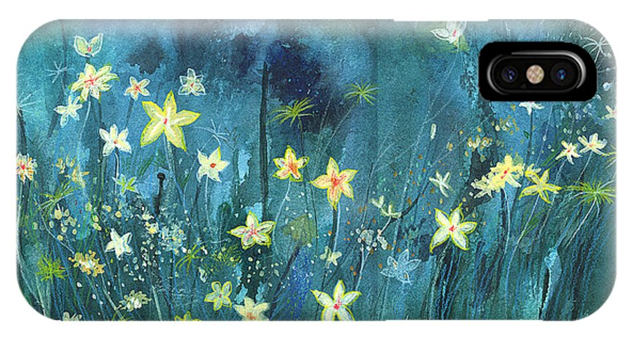 Landscape IPhone Case featuring the painting Flowers N Breeze by Anil Nene