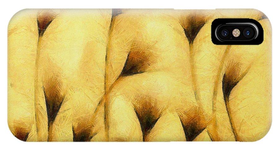 Flowers Of Love IPhone X Case featuring the digital art Flowers Of Love - Pencil - - Da by Leonardo Digenio