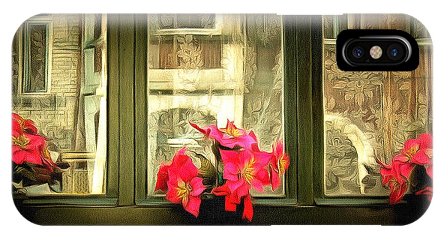 Cityscape IPhone X / XS Case featuring the digital art Flowers On A Ledge by Anthony Caruso