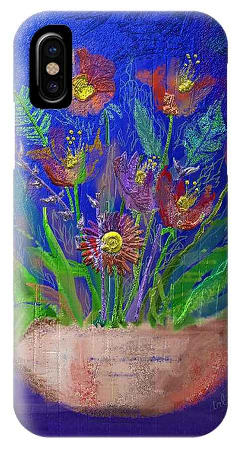 Flower IPhone X Case featuring the digital art Flowers On Blue by Arline Wagner