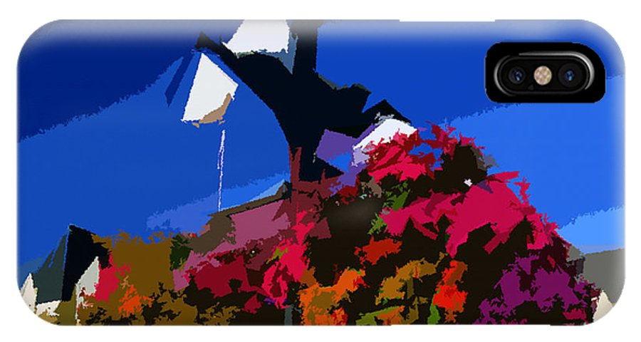 Flowers IPhone X Case featuring the painting Flowers On Lamppost by David Lee Thompson