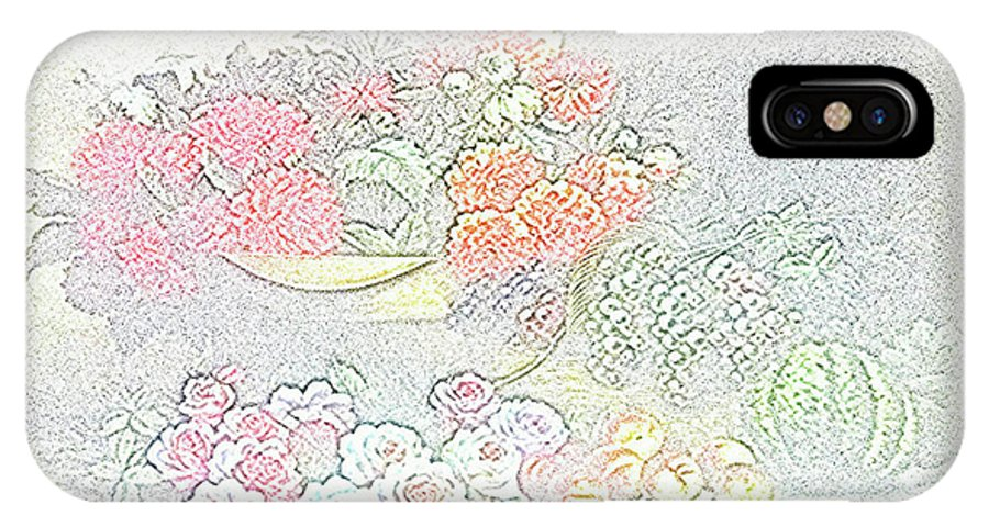 Flowers IPhone X Case featuring the drawing Flowers Painting by Vijay Barath