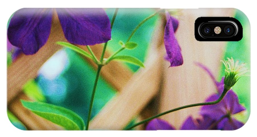 Floral IPhone Case featuring the painting Flowers Purple by Eric Schiabor