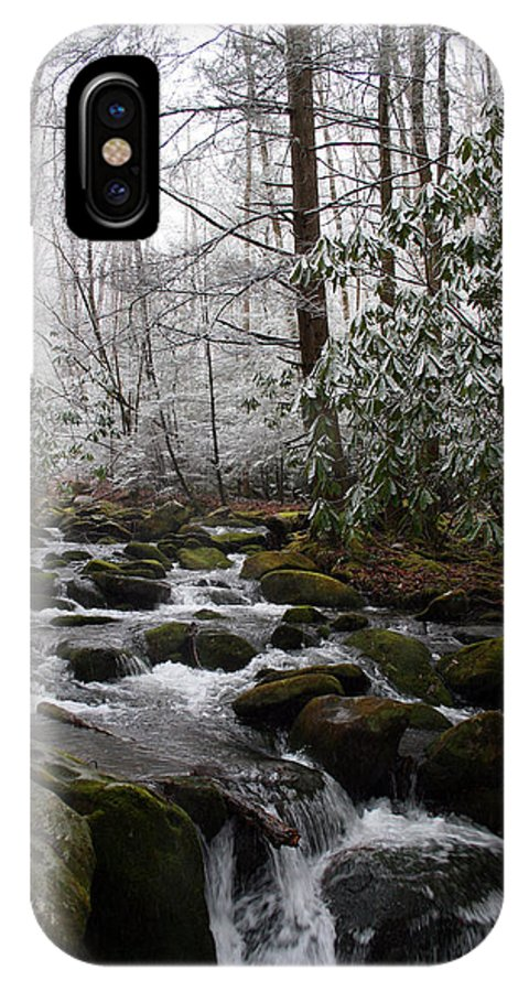 Park Winter Snow White Water Stream Creek Flow River Rock Boulder Tree Green Rush Cold National IPhone X Case featuring the photograph Flowing by Andrei Shliakhau