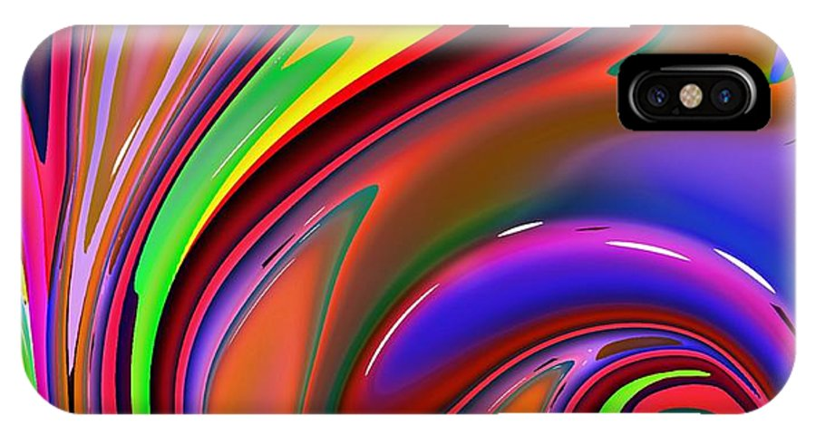 Abstract IPhone X Case featuring the digital art Fluid Colour by Robert Burns