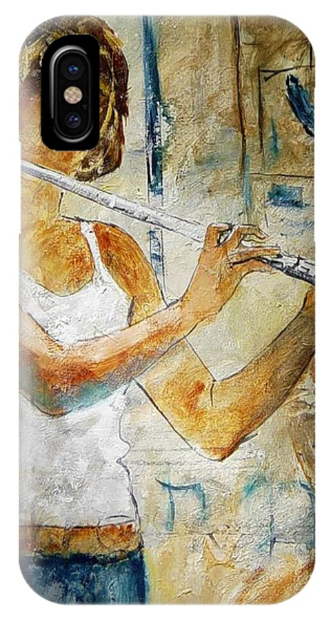 Music IPhone X Case featuring the painting Flutist by Pol Ledent