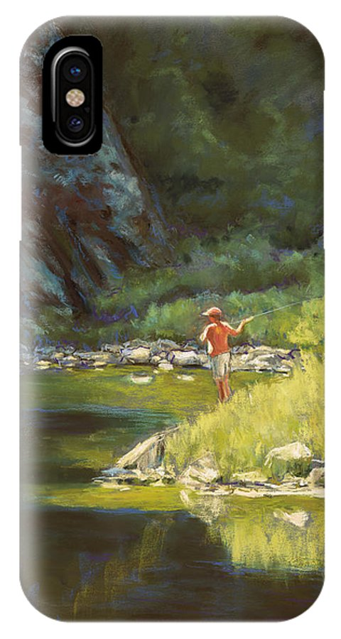 Fly Fisherman IPhone X Case featuring the painting Fly Fishing by Billie Colson