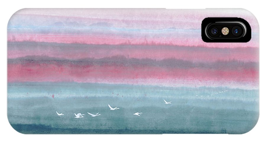 A Flock Of Birds Flying Across The Water At Dawn. This Is A Contemporary Chinese Ink And Color On Rice Paper Painting With Simple Zen Style Brush Strokes.  IPhone X Case featuring the painting Flying Across by Mui-Joo Wee