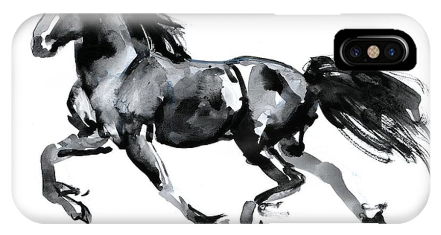 Horse IPhone X Case featuring the painting Flying Friesian by Mark Adlington
