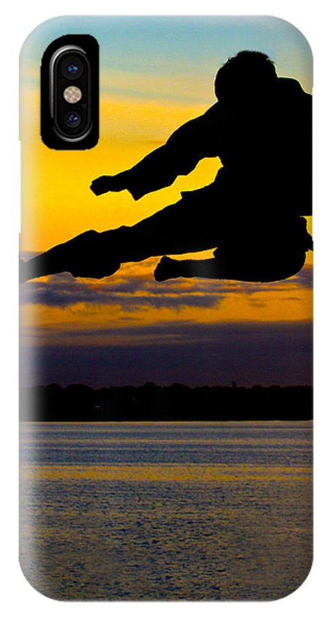 Photography IPhone X Case featuring the photograph Flying Kick Over Muskegon Lake by Frederic A Reinecke