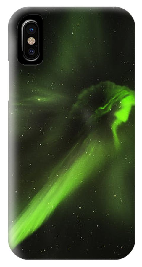 Alaska IPhone X Case featuring the photograph Flying Lights by Anna Marie Jensen