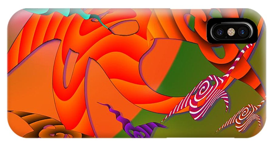 Triangles IPhone X Case featuring the digital art Flying Triangles by Helmut Rottler