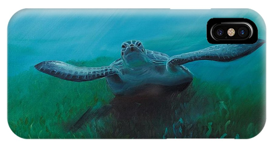 Turtle IPhone X Case featuring the painting Flying Turtle by Ksenia Sergeeva