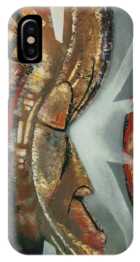 African Mask IPhone X Case featuring the painting Focus And Determination by Hasaan Kirkland