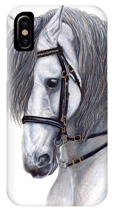 Horse IPhone X Case featuring the drawing Focus by Kristen Wesch