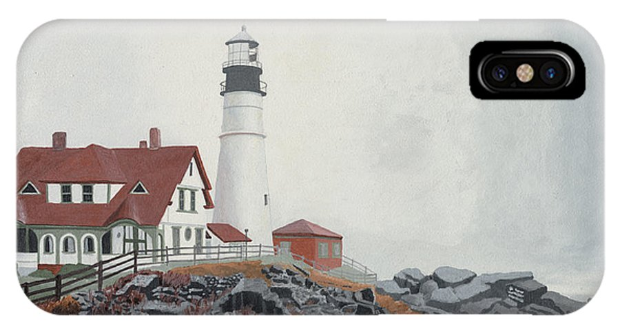 Lighthouse IPhone X Case featuring the painting Fog Approaching Portland Head Light by Dominic White