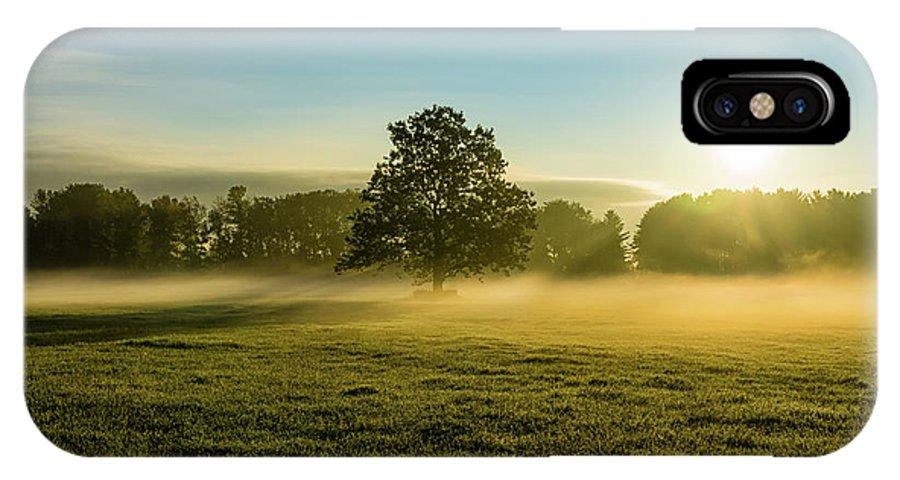 Fog IPhone X Case featuring the photograph Foggy Autumn Morning On The Farm by Brandon Sprung